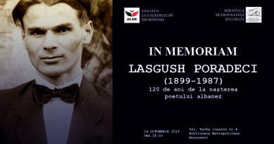 """""""In memoriam Lasgush Poradeci"""" la Biblioteca Metropolitană București"""
